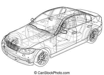 concept, vecteur, voiture.