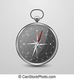 concept., vecteur, windrose, arrière-plan., compas, voyage, dial., conception, antiquité, blanc, vendange, vieux, icône, 3d, argent, acier, isolé, réaliste, template., navigation, closeup, chrome, métal, vue frontale, noir