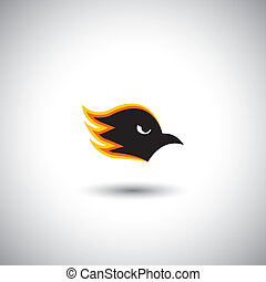 Concept vector - aggressive eagle or hawk face with flames