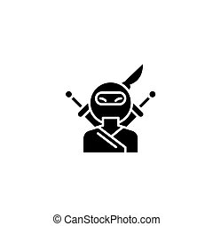 concept., vector, black , symbool, illustration., plat, pictogram, meldingsbord, ninja