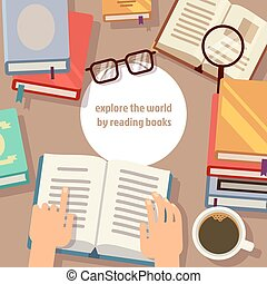 concept, vector, boekjes , lezende