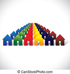 Concept vector community living - colorful houses or homes in rows. The graphic contains home icons or signs in red, orange, yellow, blue, pink and other vivid and vibrant colors