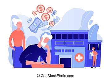 concept, vector, gezondheidszorg, kosten, pensioentrekkeren, illustration.