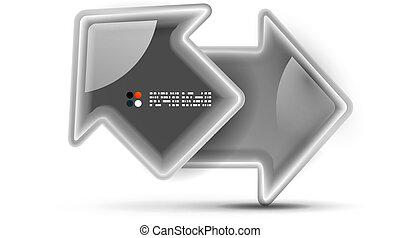 concept, vector, glanzend, richtingwijzer, technologie, 3d