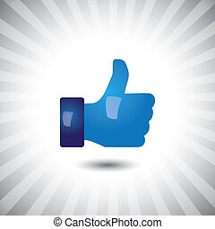 Concept vector- glossy, stylish social media like hand icon(...
