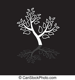 Concept vector graphic- abstract black & white tree icon(symbol). The illustration shows beautiful plant with white leaves along with its own reflection.