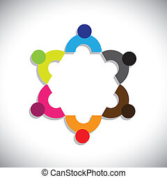 Concept vector graphic- abstract colorful company executives mee