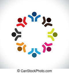 Concept vector graphic- abstract colorful happy people icons(signs). The illustration represents concepts like worker unions, employee diversity, community friendship & sharing, kids playing, etc