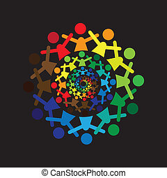 Concept vector graphic- abstract colorful kids together ...