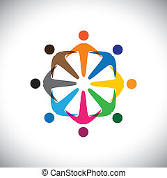 Concept vector graphic- abstract colorful people diversity icons(signs). The illustration represents concepts like worker unions, employee diversity, community friendship & sharing, kids playing, etc