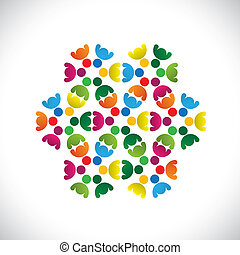 Concept vector graphic- abstract colorful teams of people icons(signs). The illustration shows concepts like worker unions, employee diversity, community friendship & sharing, kids playing, etc