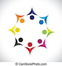 Concept vector graphic- abstract colorful united joyful children icons(signs). The illustration shows concepts like worker unions, employee diversity, community friendship & sharing, kids playing, etc