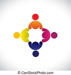 Concept vector graphic- abstract colorful workers meeting icons(signs). The illustration represents concepts like worker unions, employee diversity, community friendship & sharing, kids playing, etc