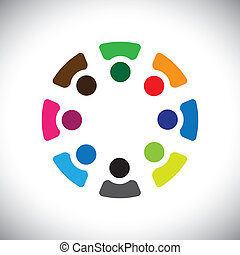 Concept vector graphic- abstract colorful company employees sharing icons(signs). The illustration shows concepts like worker unions,employee diversity,community friendship & sharing,kids playing,etc