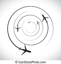Concept vector graphic- airplane icons with its flying path. This illustration can also represent silhouette symbols of a military jet speeding up in the sky