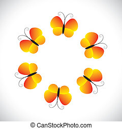Concept vector graphic- beautiful orange yellow butterfly icons(symbols). The illustration shows pretty butterflies arranged as a circle