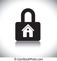 Concept vector graphic- black & white residential house(home) & lock icon. The illustration conceptually represents house protection and safety by insurance and other measures.