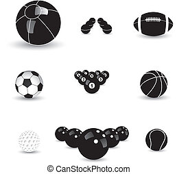 Concept vector graphic- black & white sports balls icons(symbols