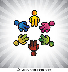 Concept vector graphic- colorful children or kids icons(symbols) in circle. The illustration can also represent concepts like employee unions, community friendship & sharing, kids playing, etc