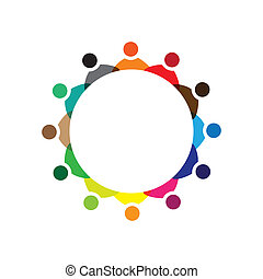 Concept vector graphic- colorful company employees meeting icons(signs). The illustration represents concepts like worker unions,employee diversity,community friendship & sharing,children playing,etc