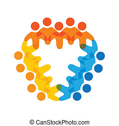 Concept vector graphic- colorful corporate employees teams icons(signs). The illustration represents concepts like worker unions, employee diversity, community friendship & sharing, children playing, etc