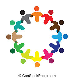 Concept vector graphic- colorful school children icons(signs) as ring. The illustration represents concepts like worker unions,employee diversity,community friendship & sharing,children playing,etc
