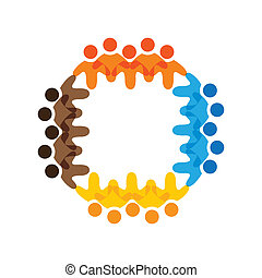 Concept vector graphic- colorful school kids teams icons(signs). The illustration represents concepts like worker unions,employee diversity,community friendship & sharing,children playing,etc