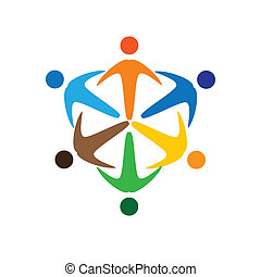 Concept vector graphic- colorful socially connected people icons(signs). The illustration represents concepts like worker unions,employee diversity,community friendship & sharing,children playing,etc