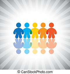 Concept vector graphic- colorful united kids or children icons(symbols). The illustration shows concepts like togetherness, worker groups, teamwork, community, friendship, etc