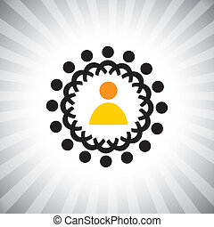 Concept vector graphic- Entrepreneur and staff or manager & employees. The illustration also represents concepts like boss & worker, captain & followers, leadership, positions like CEO, CFO, etc
