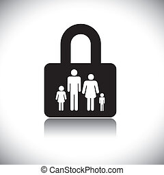 Concept vector graphic- family protection(insurance) & lock symbol. The graphic shows family of four(father, mother, son & daughter) in a lock icon.