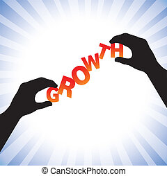 Concept vector graphic- hand silhouette arranging words growth. The illustration shows the letters of the word held between two hands and balancing them