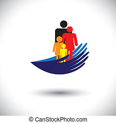 Concept vector graphic- hands protecting family of parents & children. The illustration shows palm silhouette & icons of father, mother, son & daughter  together