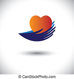 Concept vector graphic- hands protecting heart from disease...