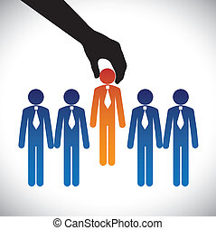 Concept vector graphic- hiring(selecting) the best job candidate. The graphic shows company making a choice of person with right skills for the job among many candidates competing for the same post