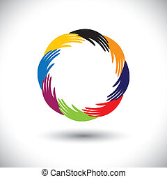Concept vector graphic- human hand symbols(icons) as circle or ring. The illustration also represents concepts like teamwork, cooperation, community sharing, friendship, partnership, unity & solidarity