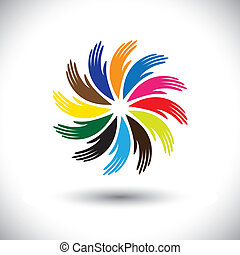Concept vector graphic- human hand symbols(icons) as floral circ