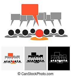 Concept vector graphic - leader & employees talking ( speech bubbles )