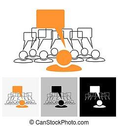 Concept vector graphic - leader & staff talking ( speech bubbles )