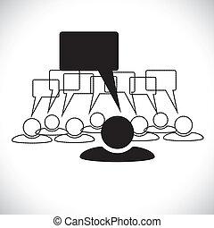 Concept vector graphic- leader & staff talking(speech bubbles)