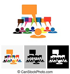 Concept vector graphic - leader & workers talking ( speech bubbles )