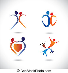 Concept vector graphic- love couple together jumping in joy. The illustration also represents lover pairs passionately dancing, girl and boy doing lustful moves, romantic couple having fun time, etc