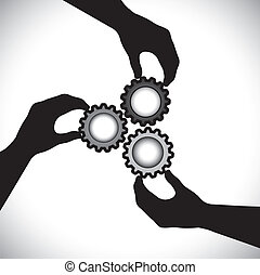 Concept vector graphic- of teamwork, community unity & integrity. The illustration shows 3 hand silhouettes holding 3 cog wheels & rotating them in sync & balance