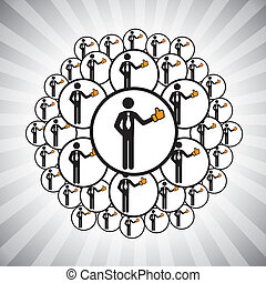 Concept vector graphic- people network connected by like hand icons. The illustration shows team of people, friends, community, relatives etc connecting(networking) to each other by liking others