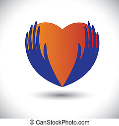 Concept vector graphic- person expressing love with hand & love symbol(icon). The illustration with palm silhouette also represents concepts like health insurance, keeping heart healthy, etc