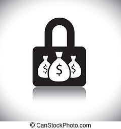Concept vector graphic- protecting wealth(money) & lock symbol