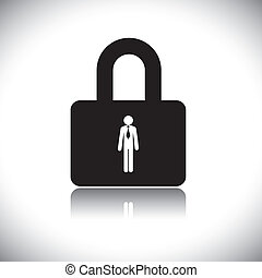 Concept vector graphic- protecting(insuring) employee lock symbol(icon). The graphic shows company safeguarding its workforce by providing insurance and other benefits