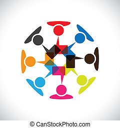 Concept vector graphic- social media interaction & communication. This illustration can also represent people chatting, teamwork, meeting, employee interactions & discussions, expressing opinions, etc
