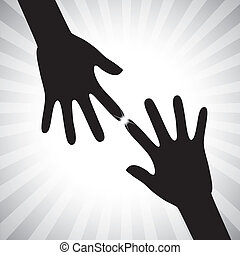 Concept vector graphic- two hand silhouettes touching each...