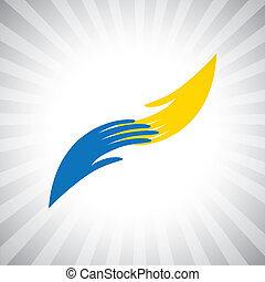 Concept vector graphic- two hand symbol of giving, receiving...